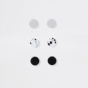 Multipack zwarte oorbellen met marmer