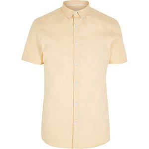 Geel overhemd met korte mouwen van keperstof