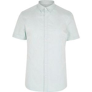 Mintgroen overhemd met korte mouwen van keperstof