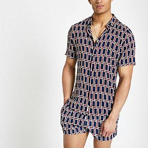 Navy geo print short sleeve shirt