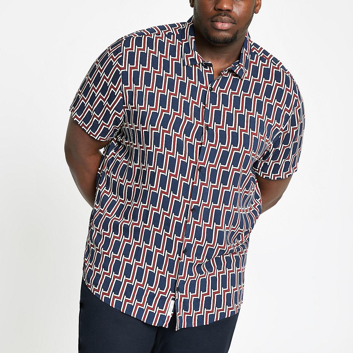 Big and Tall navy geo print shirt