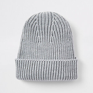 Grey fisherman knit beanie hat