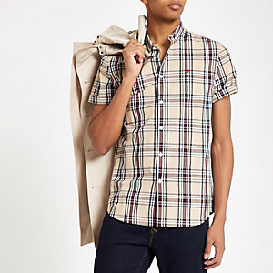 Kiezelkleurig geruit slim-fit overhemd met geborduurde wesp