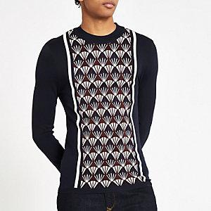Aansluitende marineblauwe geblokte trui met geometrische print