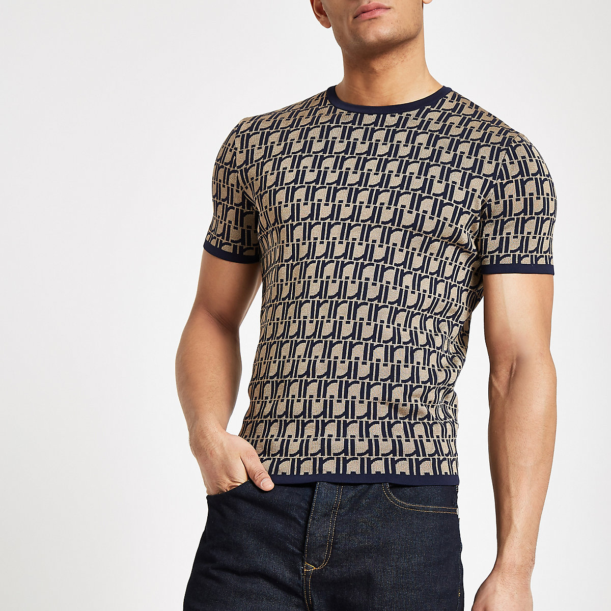 Brown RI monogram muscle fit knit T-shirt