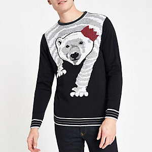 Pull de Noël slim bleu marine motif ours polaire