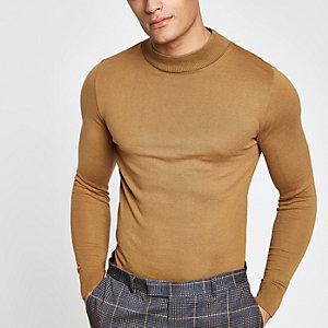 Lichtbruine aansluitende pullover met col