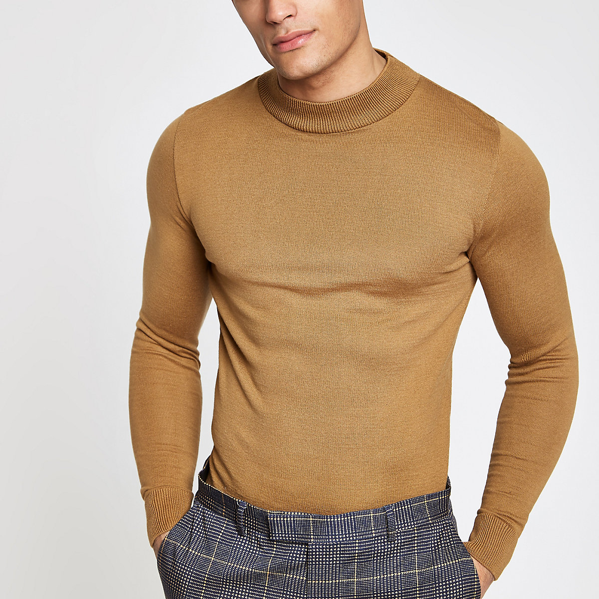 Light brown muscle fit turtle neck sweater