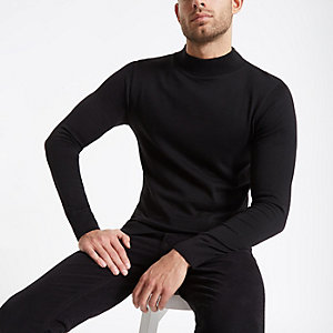 Black muscle fit turtle neck sweater