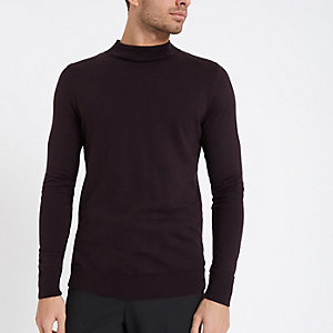 Burgundy muscle fit turtle neck jumper