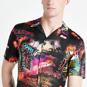 Black Vegas print revere shirt