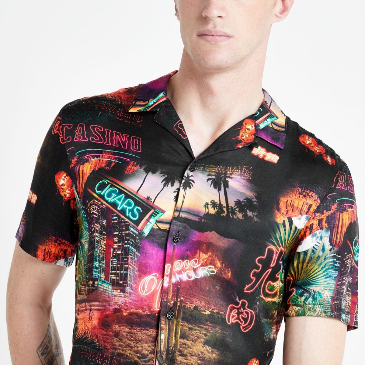 Chemise à imprimé « Vegas » noire avec col à revers