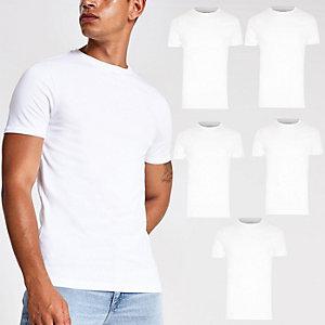 Lot de5 t-shirts ras-du-cou ajustés blancs
