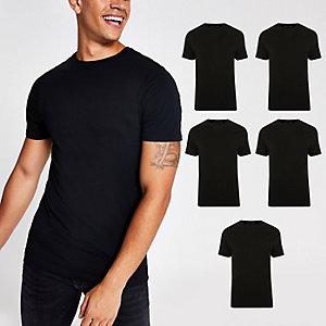 Schwarzes Muscle Fit T-Shirt mit Rundhalsausschnitt, 5er-Pack