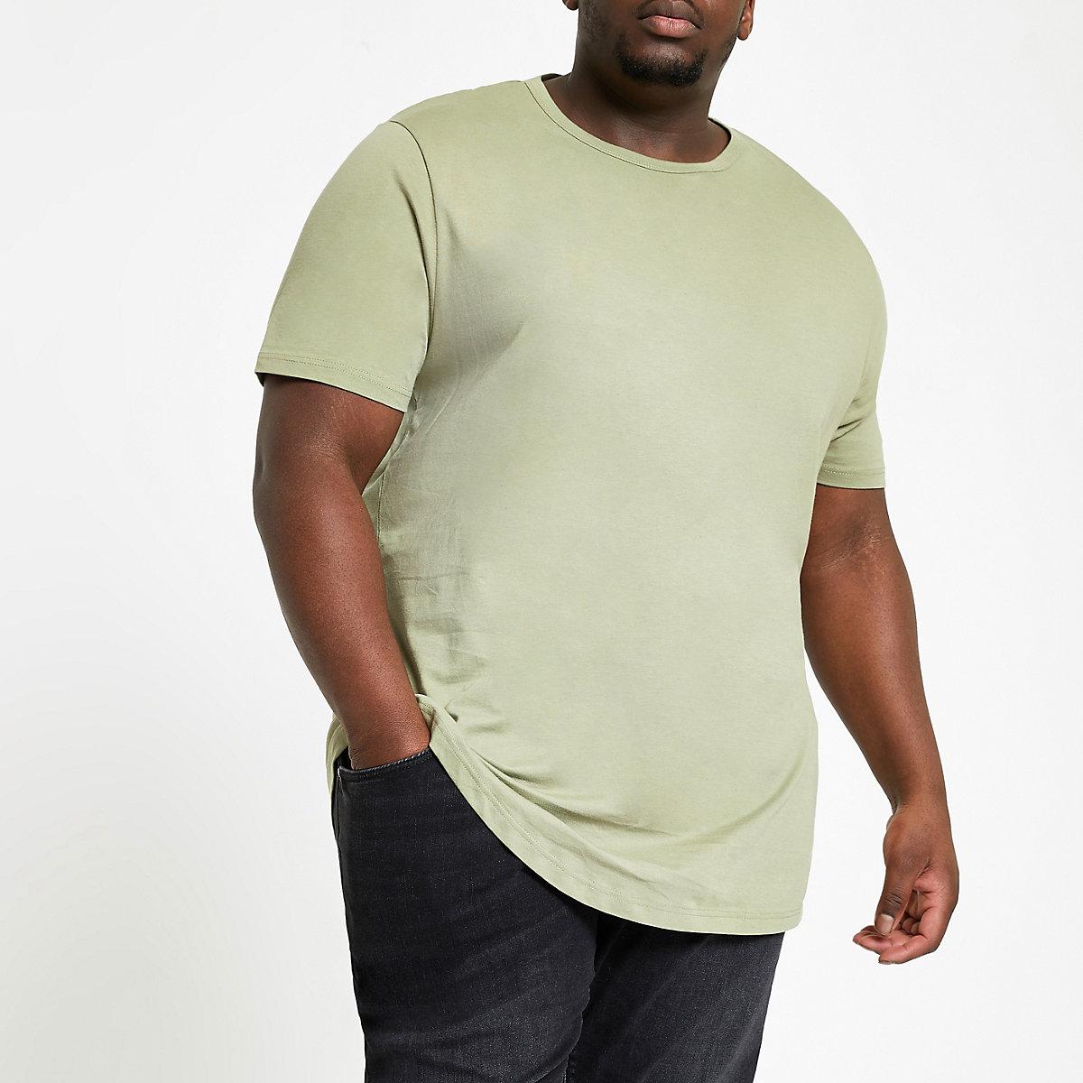Big and Tall – T-shirt vert à ourlet arrondi