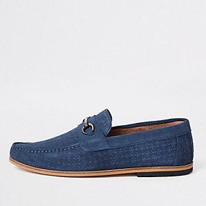 Blue suede snake embossed snaffle loafers