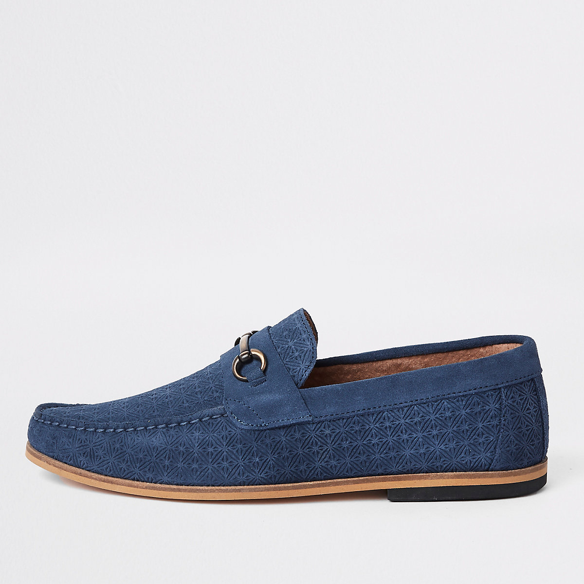 Blue suede embossed snaffle loafers