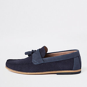 Navy suede snake embossed tassel loafers