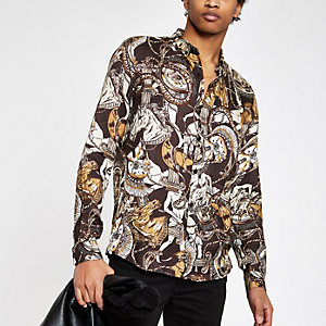 Brown print button-down shirt
