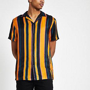 Geel gestreept overhemd met korte mouwen