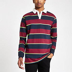 Bellfield navy and red stripe rugby shirt