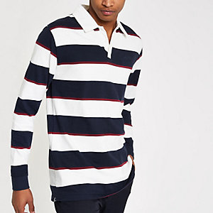 Bellfield navy and white stripe polo shirt