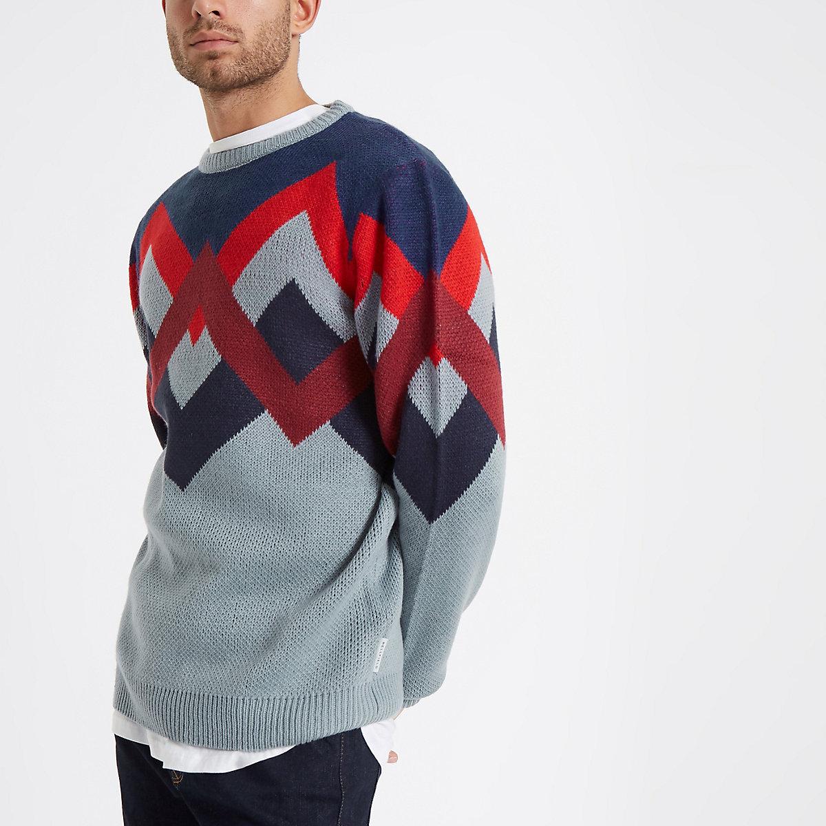 Bellfield blue jacquard crew neck sweater