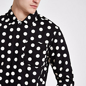 Bellfield black polka dot button-down shirt