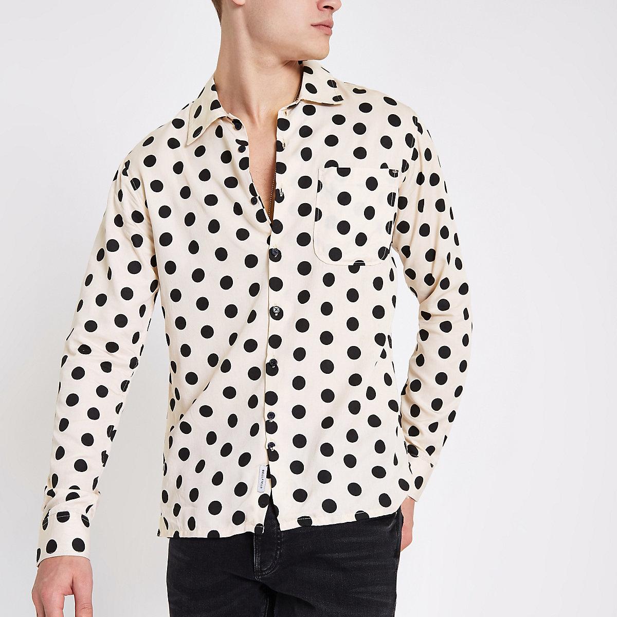 Bellfield pink polka dot button-down shirt