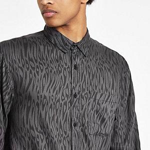 Bellfield – Schwarzes Hemd mit Leoparden-Print