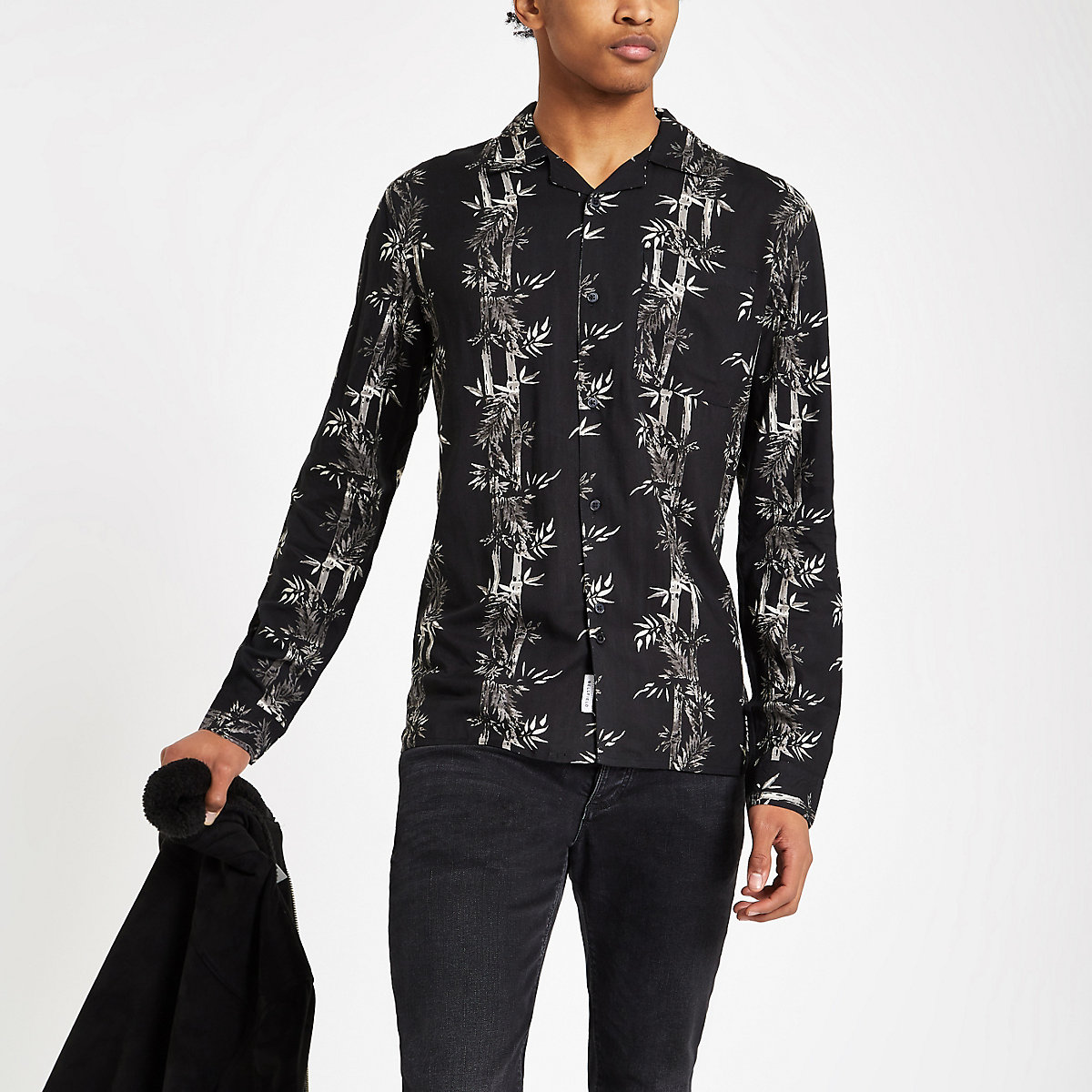 Bellfield bamboo print long sleeve shirt