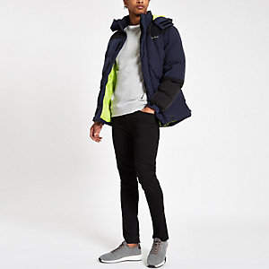 Bellfield color block padded hooded jacket
