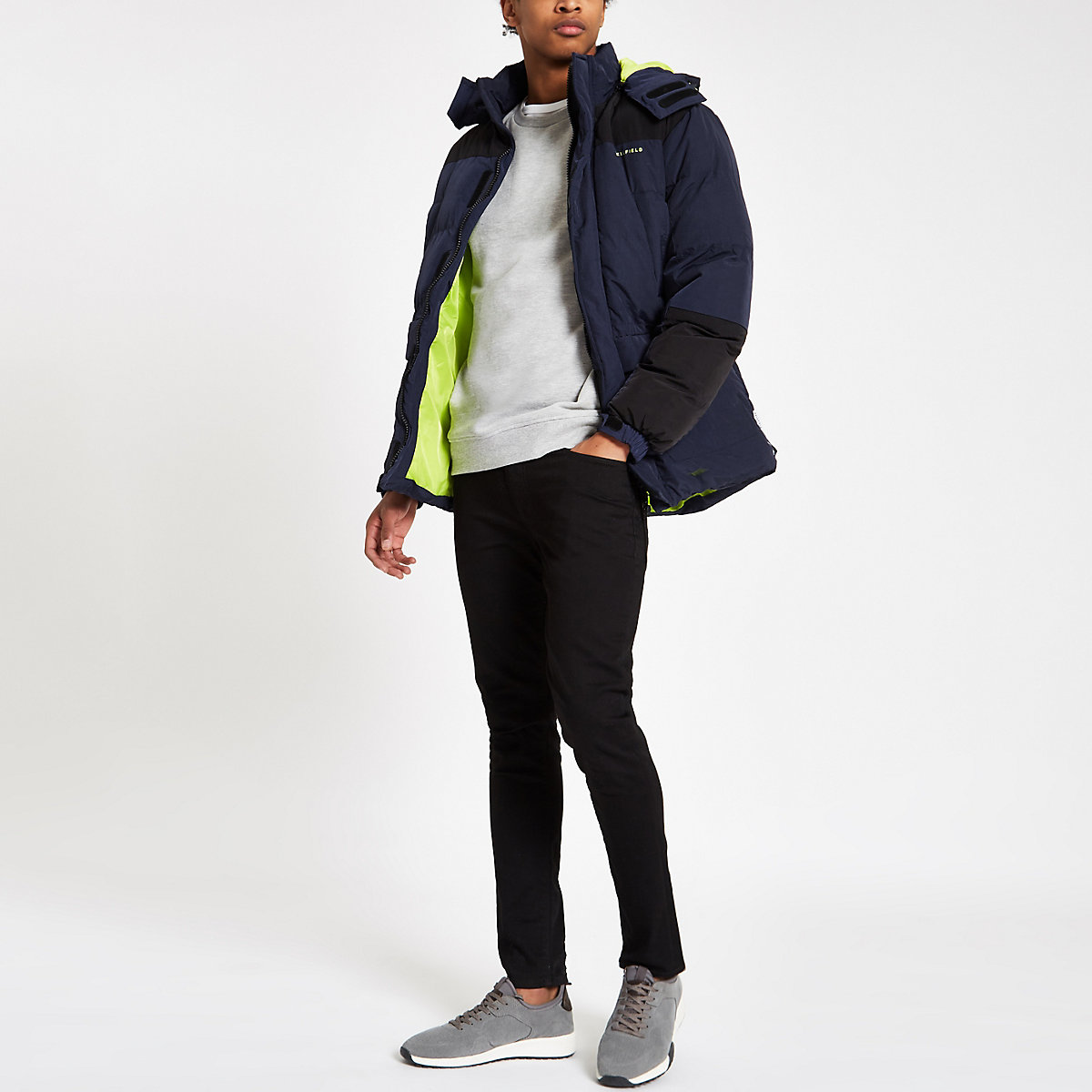 Bellfield colour block padded hooded jacket