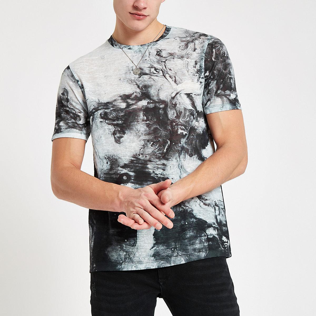 Black slim fit oiled print T-shirt