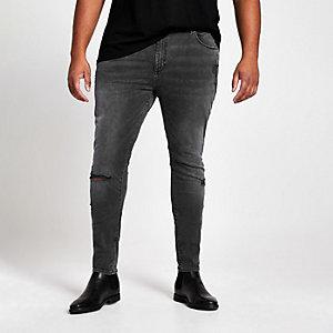 Big & Tall – Jean noir délavé déchiré