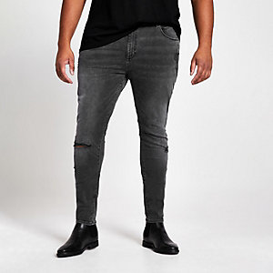 Big & Tall - Zwarte wash ripped jeans