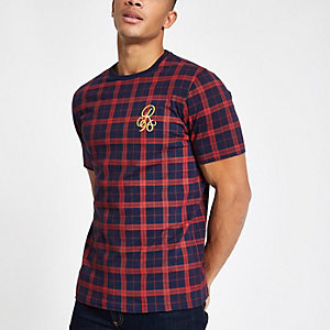R96 navy check slim fit T-shirt