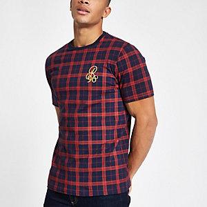 """Marineblaues, kariertes Slim Fit T-Shirt """"R96"""""""