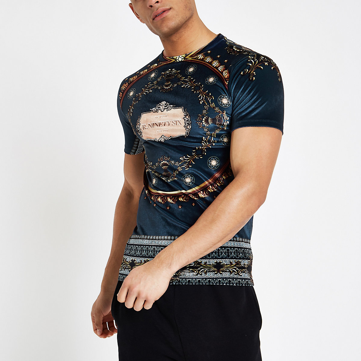 Navy baroque print velour T-shirt