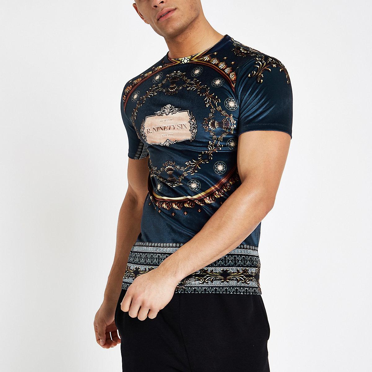 Navy baroque print velour T-shirt