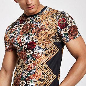 T-shirt slim imprimé baroque zèbre noir