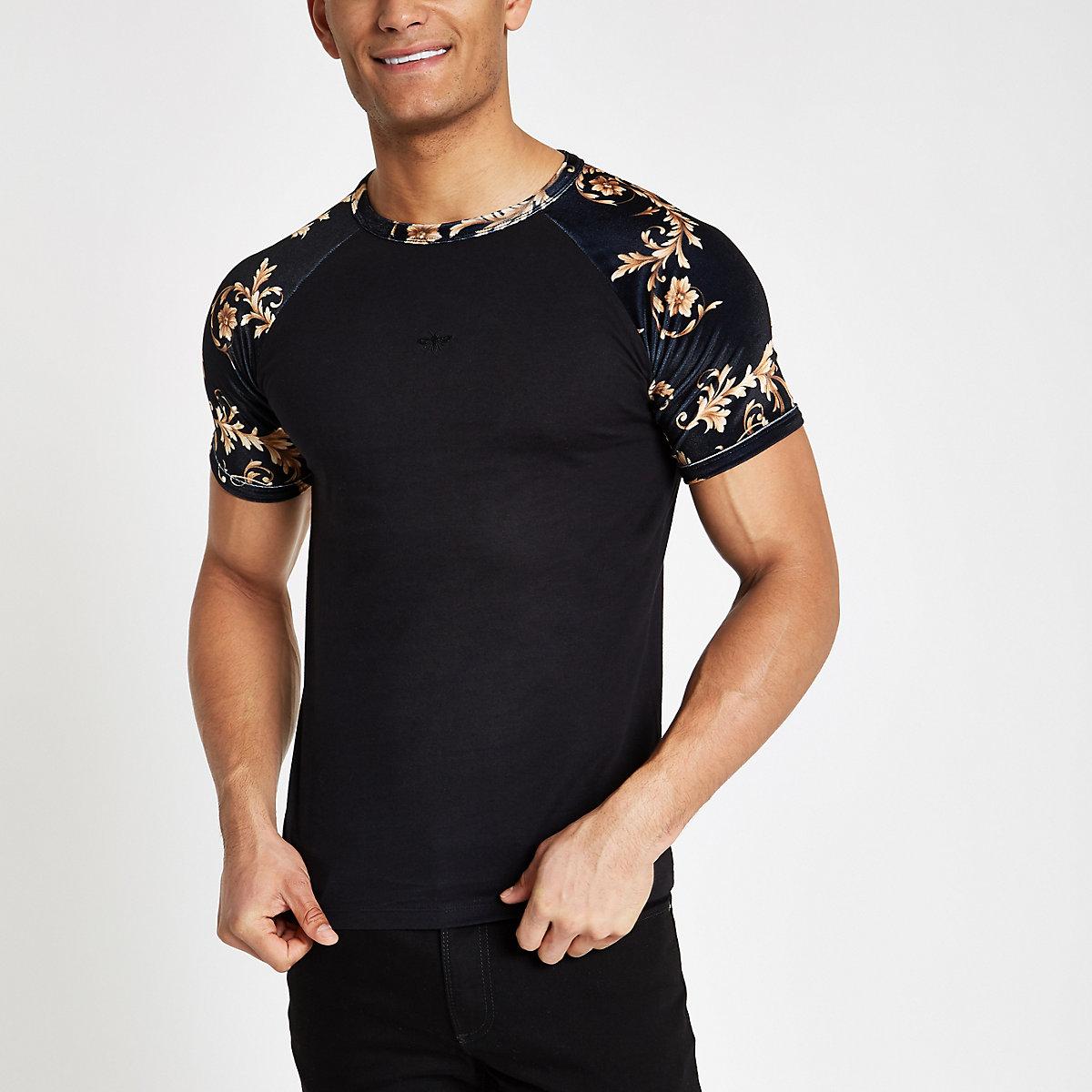 T-shirt slim en velours imprimé baroque noir