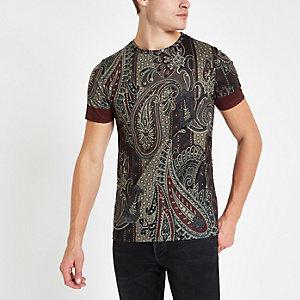 T-shirt slim imprimé cachemire bordeaux