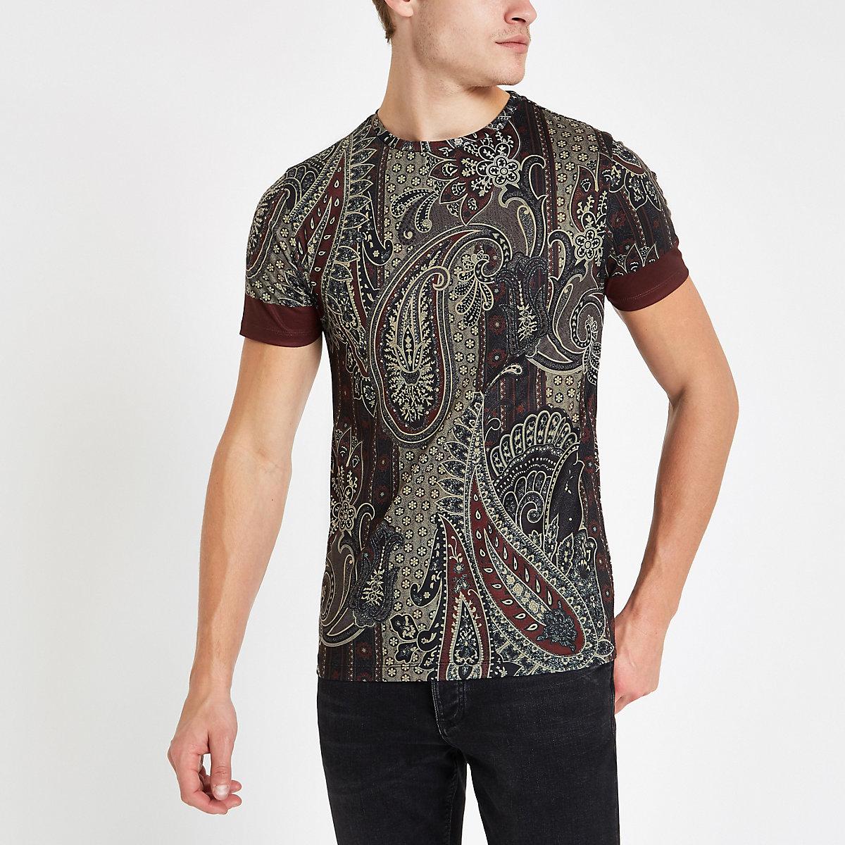 Burgundy paisley print slim fit T-shirt