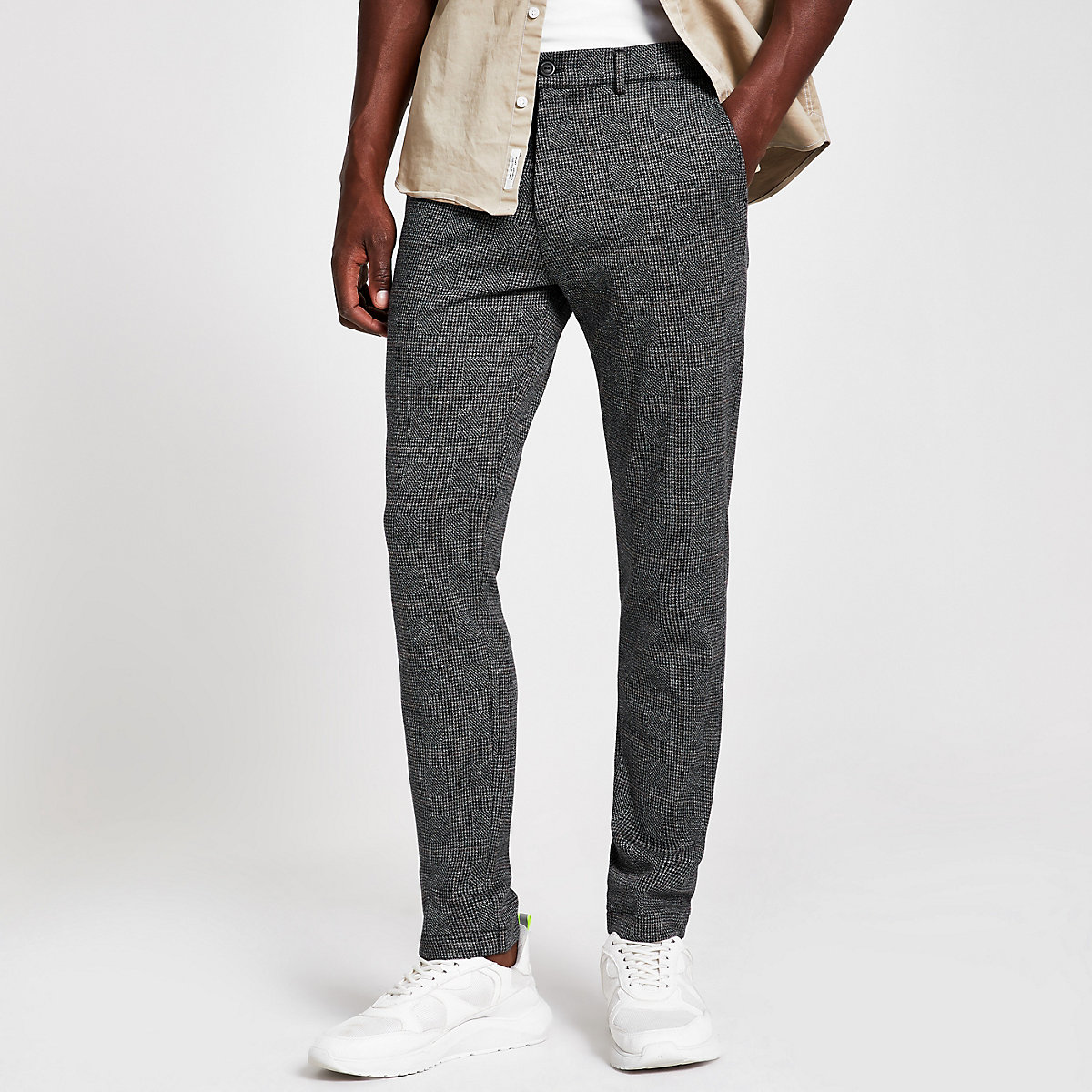 Grey check stretch super skinny fit trousers