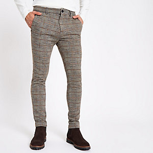 Pantalon skinny en jersey à carreaux marron