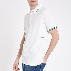 Minimum – Weißes Polohemd mit Zierstreifen