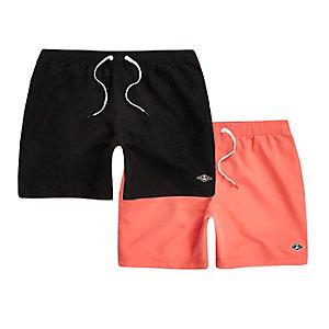 Black and coral swim short 2 pack