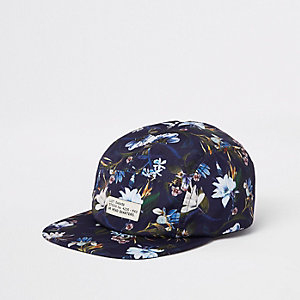 Blue floral five panel cap