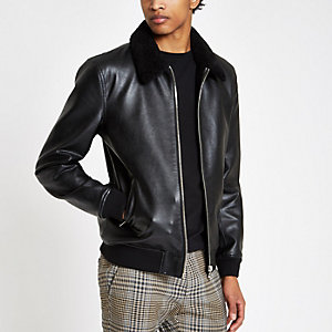 Black faux leather fleece collar jacket